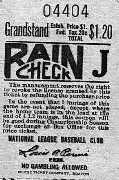 1945 Braves Field Rain Check